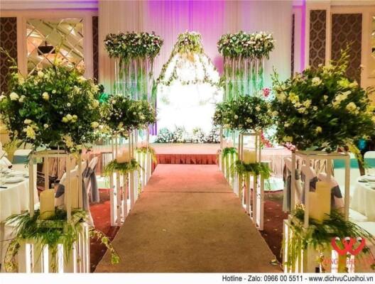 Hoa lối đi đám cưới, Hoa lối đi tiệc cưới đẹp, công ty Công Nghệ cưới