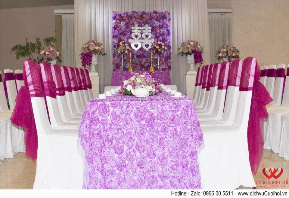 Trang trí tiệc cưới trọn gói tông màu tím- Trang trí lễ gia tiên