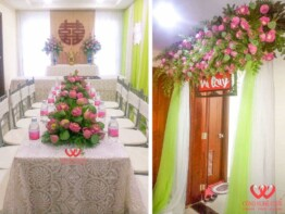 Trang trí đám cưới tại nhà với hoa sen