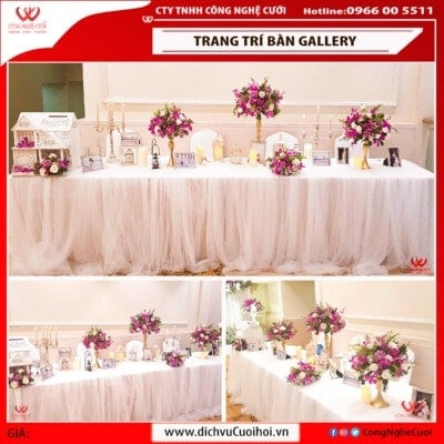Trang trí bàn gallery tiệc cưới