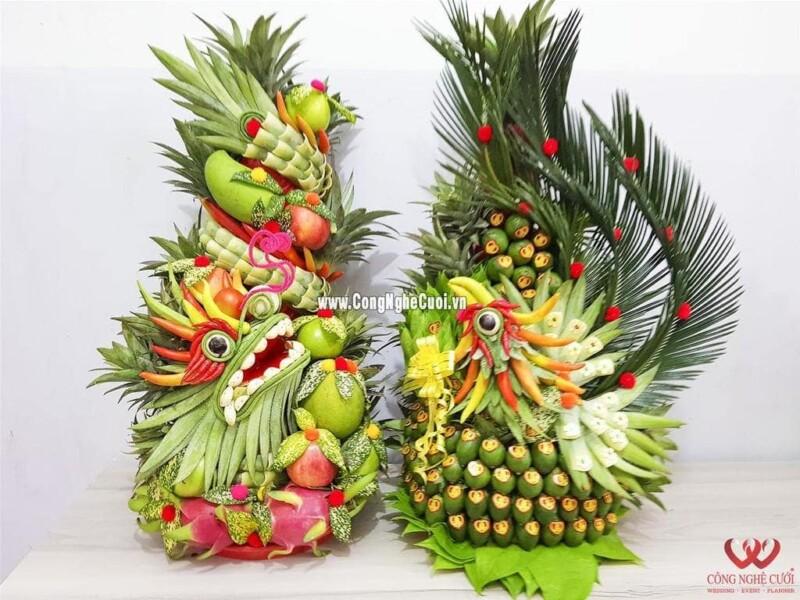 Mâm quả rồng phụng trái cây trầu cau