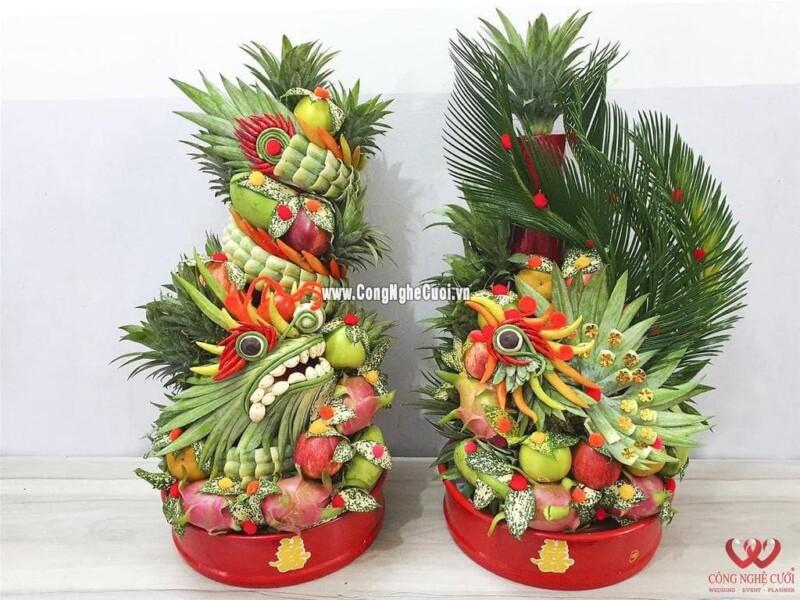 Mâm quả trái cây rồng phụng