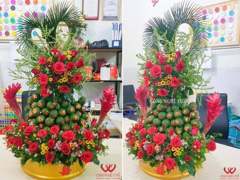 Mâm quả trầu cau xếp tháp kết hoa