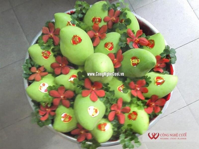 Mâm quả trái cây xoài cát cưới hỏi